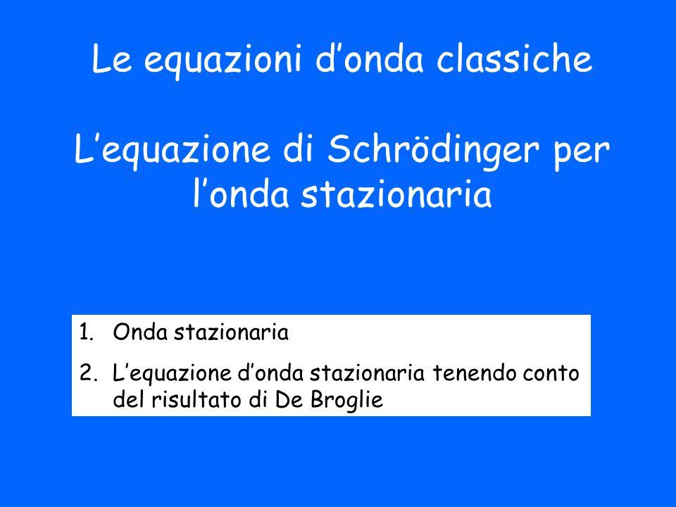 Le equazioni d'onda classiche L'equazione di Schrödinger per l'onda stazionaria 1.Onda stazionaria 2.L'equazione d'onda stazionaria tenendo conto del risultato di De Broglie