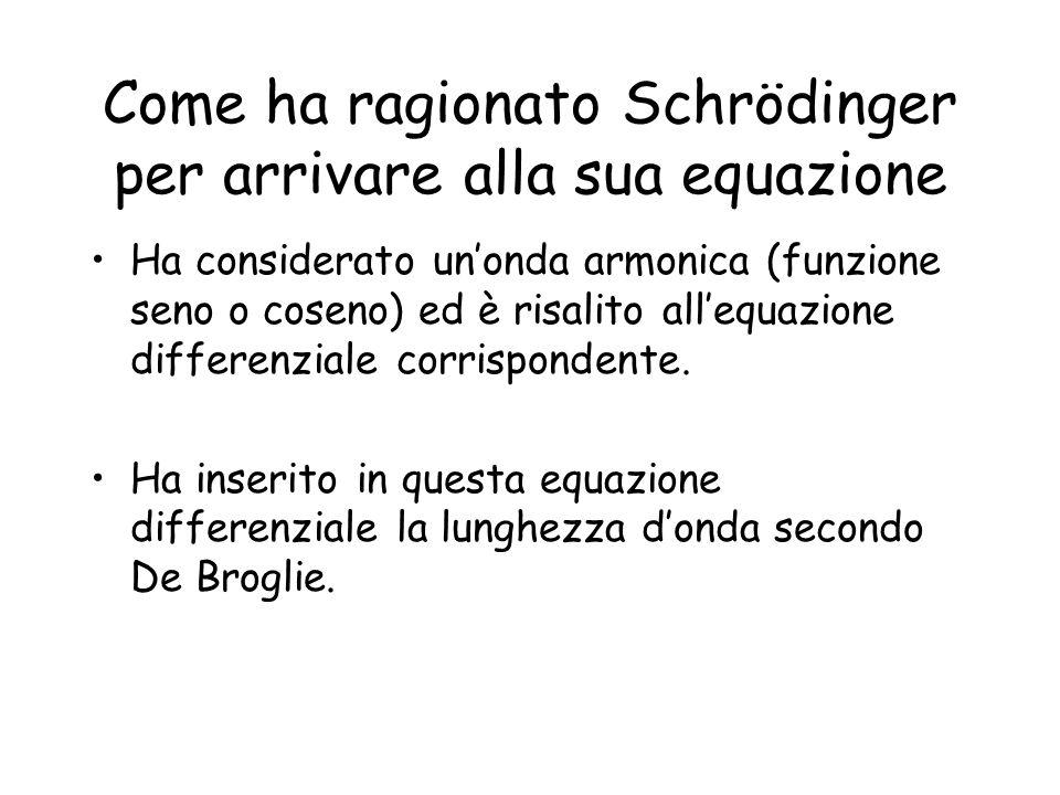 Come ha ragionato Schrödinger per arrivare alla sua equazione Ha considerato un'onda armonica (funzione seno o coseno) ed è risalito all'equazione differenziale corrispondente.