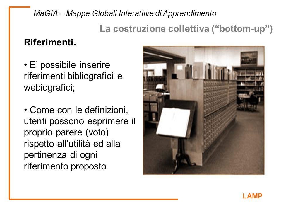 LAMP MaGIA – Mappe Globali Interattive di Apprendimento Riferimenti. E' possibile inserire riferimenti bibliografici e webiografici; Come con le defin
