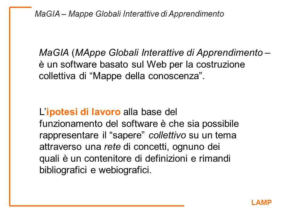 LAMP MaGIA – Mappe Globali Interattive di Apprendimento MaGIA (MAppe Globali Interattive di Apprendimento – è un software basato sul Web per la costru