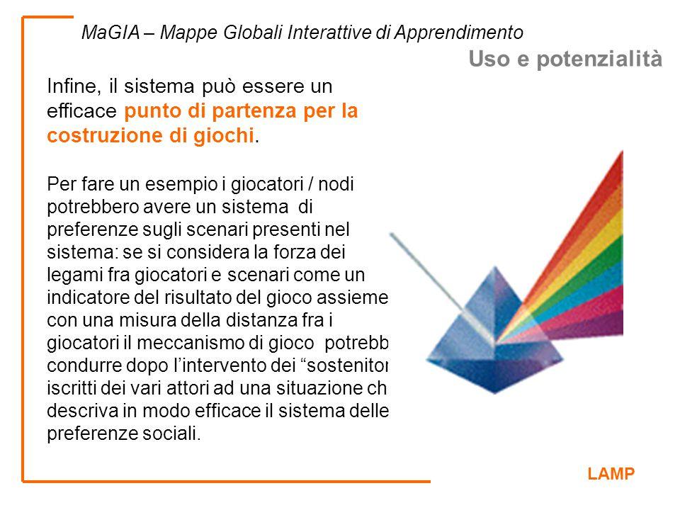 LAMP MaGIA – Mappe Globali Interattive di Apprendimento Infine, il sistema può essere un efficace punto di partenza per la costruzione di giochi. Per