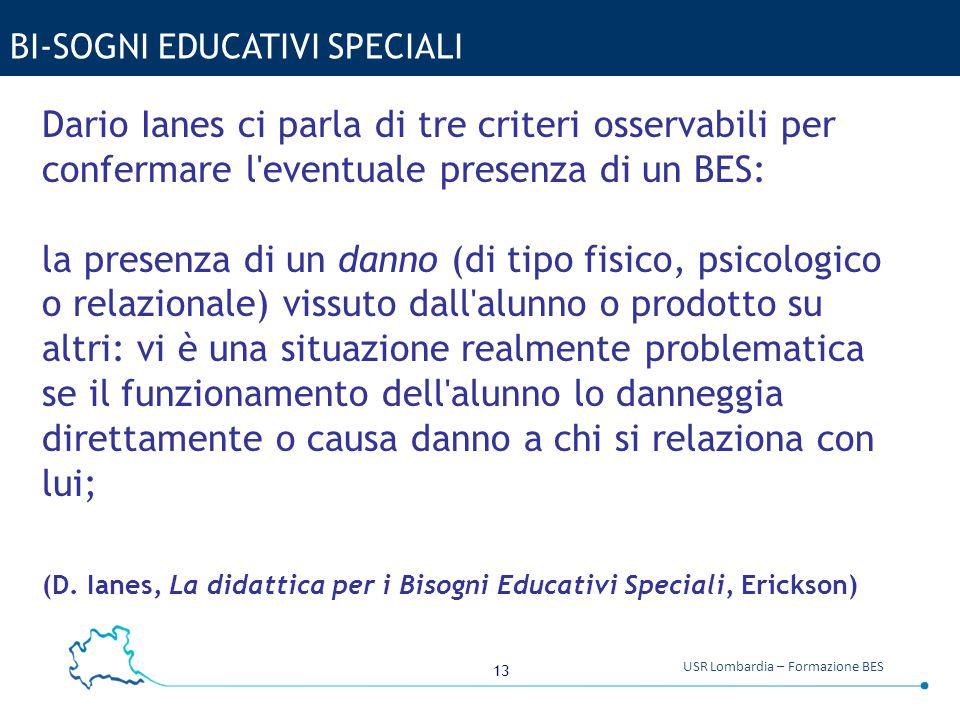 13 USR Lombardia – Formazione BES BI-SOGNI EDUCATIVI SPECIALI Dario Ianes ci parla di tre criteri osservabili per confermare l'eventuale presenza di u