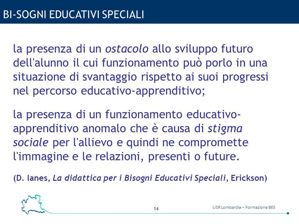14 USR Lombardia – Formazione BES BI-SOGNI EDUCATIVI SPECIALI la presenza di un ostacolo allo sviluppo futuro dell'alunno il cui funzionamento può por