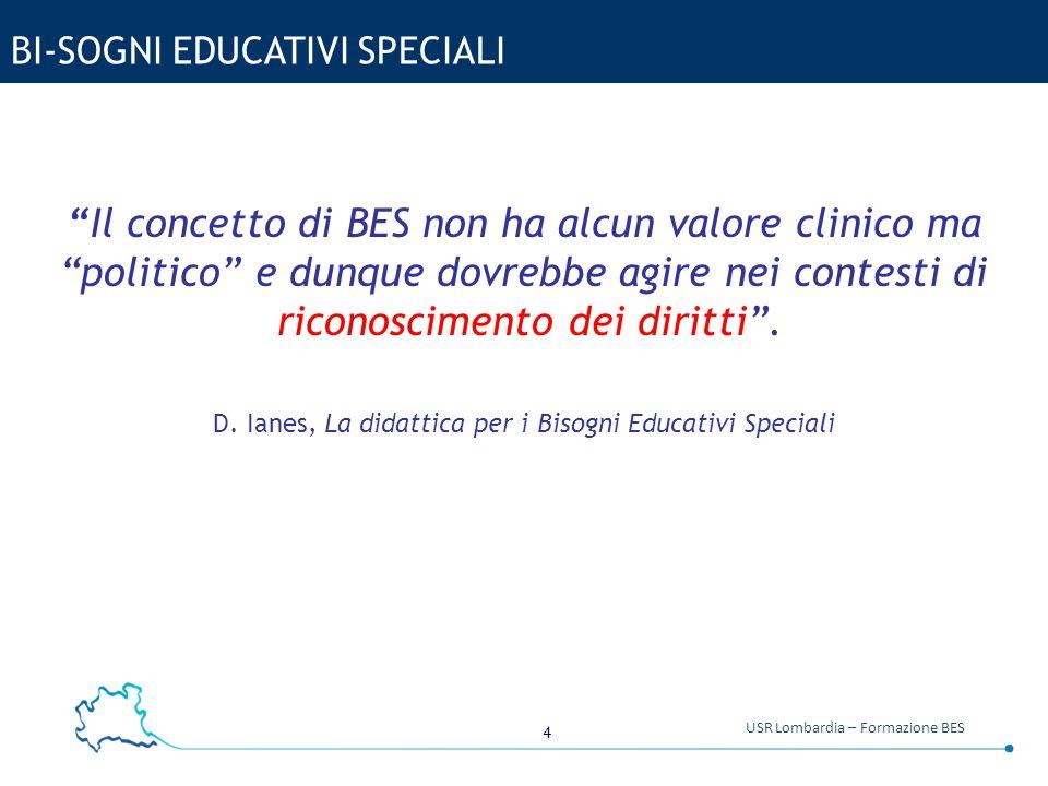 """4 USR Lombardia – Formazione BES BI-SOGNI EDUCATIVI SPECIALI """"Il concetto di BES non ha alcun valore clinico ma """"politico"""" e dunque dovrebbe agire nei"""