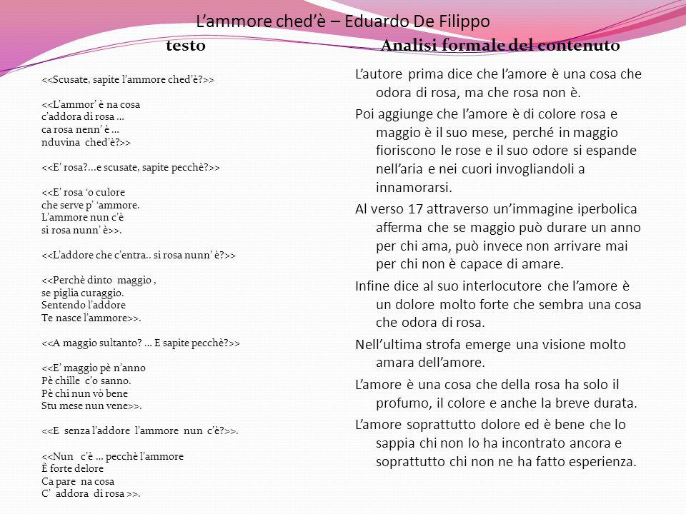 L'ammore ched'è – Eduardo De Filippo testoAnalisi formale del contenuto > <<L'ammor' è na cosa c'addora di rosa … ca rosa nenn' è … nduvina ched'è?>>