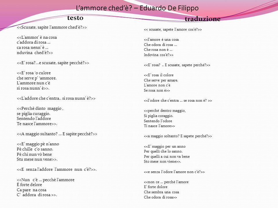 L'ammore ched'è? – Eduardo De Filippo testo traduzione > <<L'ammor' è na cosa c'addora di rosa … ca rosa nenn' è … nduvina ched'è?>> > <<E' rosa 'o cu