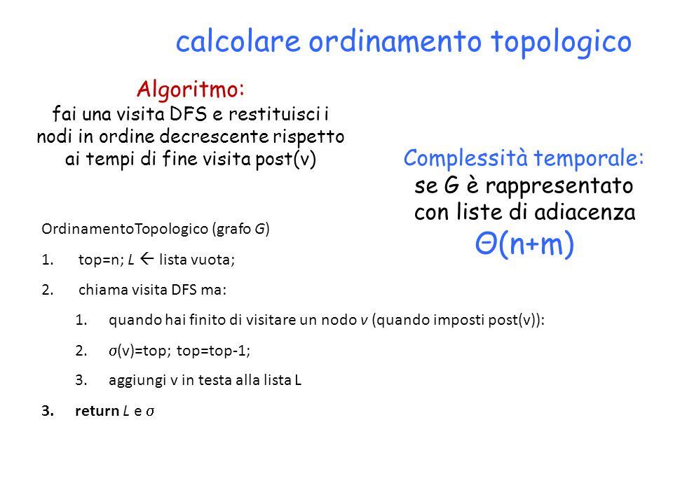 calcolare ordinamento topologico Algoritmo: fai una visita DFS e restituisci i nodi in ordine decrescente rispetto ai tempi di fine visita post(v) OrdinamentoTopologico (grafo G) 1.