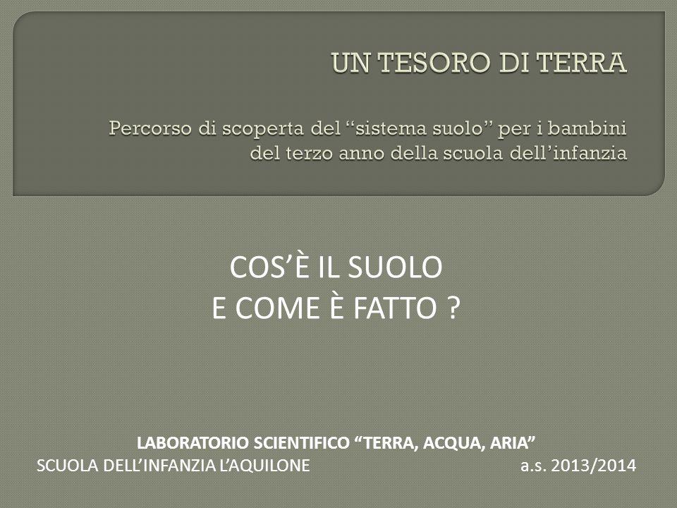"""COS'È IL SUOLO E COME È FATTO ? LABORATORIO SCIENTIFICO """"TERRA, ACQUA, ARIA"""" SCUOLA DELL'INFANZIA L'AQUILONE a.s. 2013/2014"""