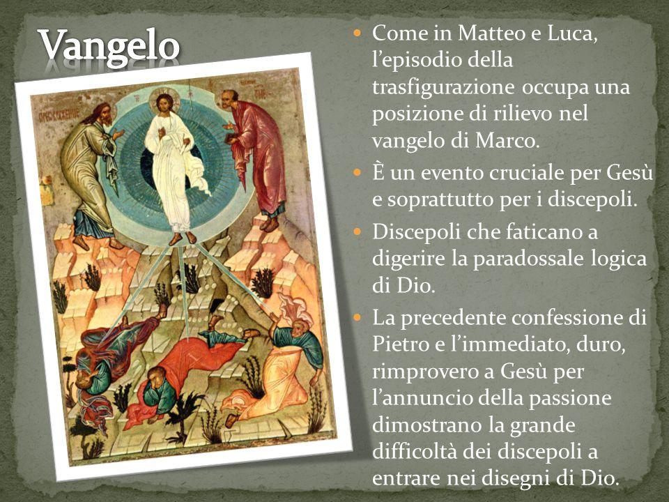 Come in Matteo e Luca, l'episodio della trasfigurazione occupa una posizione di rilievo nel vangelo di Marco.