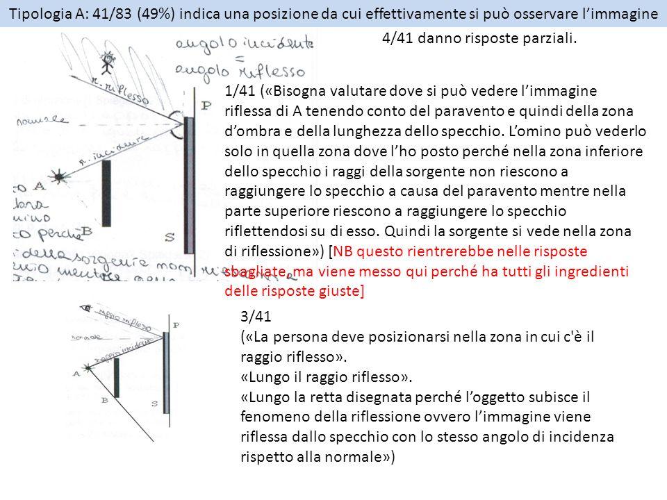 Tipologia B: 42/83 (51%) indica una posizione da cui NON si può osservare l'immagine 21/42 indicano come regione quella soprastante il raggio incidente che parte dalla sorgente e lambisce il paravento, anche qui con precisazioni ulteriori 12/21 – individuando la zona di fronte allo specchio come in figura.