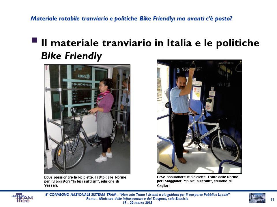 """ Il materiale tranviario in Italia e le politiche Bike Friendly 11 6° CONVEGNO NAZIONALE SISTEMA TRAM - """"Non solo Tram: I sistemi a via guidata per i"""