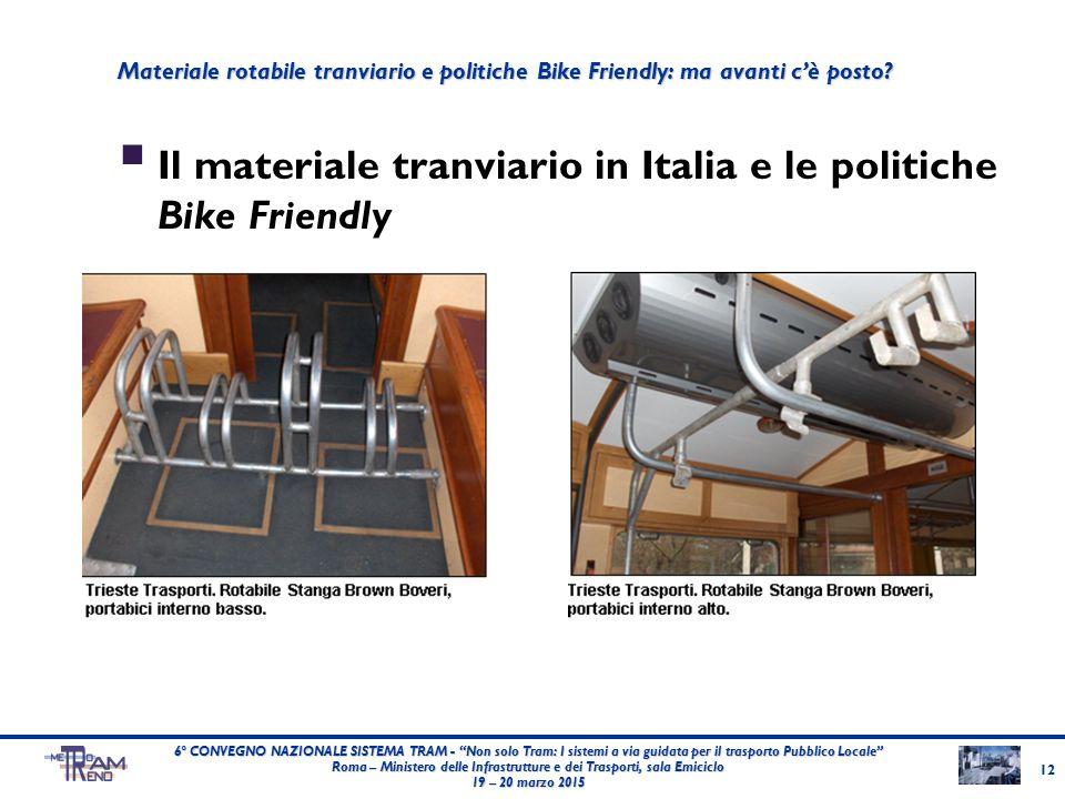 """ Il materiale tranviario in Italia e le politiche Bike Friendly 12 6° CONVEGNO NAZIONALE SISTEMA TRAM - """"Non solo Tram: I sistemi a via guidata per i"""