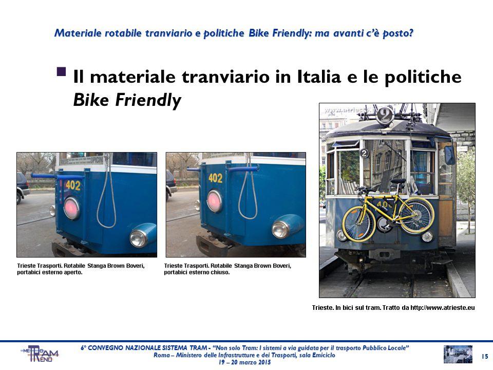 """ Il materiale tranviario in Italia e le politiche Bike Friendly 15 6° CONVEGNO NAZIONALE SISTEMA TRAM - """"Non solo Tram: I sistemi a via guidata per i"""