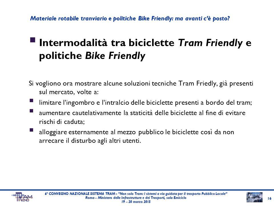  Intermodalità tra biciclette Tram Friendly e politiche Bike Friendly Si vogliono ora mostrare alcune soluzioni tecniche Tram Friedly, già presenti s