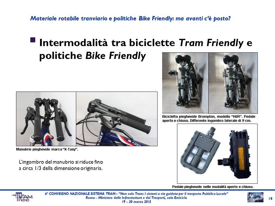 """ Intermodalità tra biciclette Tram Friendly e politiche Bike Friendly 18 6° CONVEGNO NAZIONALE SISTEMA TRAM - """"Non solo Tram: I sistemi a via guidata"""
