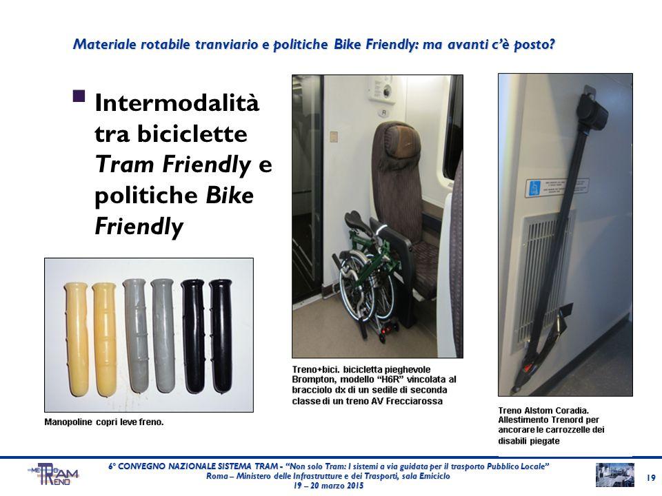 """ Intermodalità tra biciclette Tram Friendly e politiche Bike Friendly 19 6° CONVEGNO NAZIONALE SISTEMA TRAM - """"Non solo Tram: I sistemi a via guidata"""