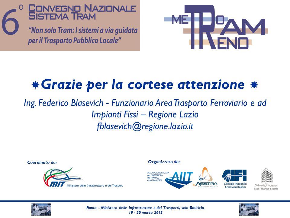 Roma – Ministero delle Infrastrutture e dei Trasporti, sala Emiciclo 19 - 20 marzo 2015 19 - 20 marzo 2015 Coordinato da: Organizzato da:  Grazie per la cortese attenzione  Ing.