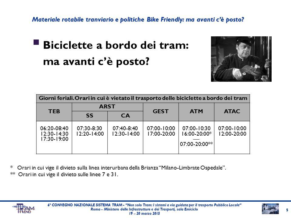  Biciclette a bordo dei tram: 5 6° CONVEGNO NAZIONALE SISTEMA TRAM - Non solo Tram: I sistemi a via guidata per il trasporto Pubblico Locale Roma – Ministero delle Infrastrutture e dei Trasporti, sala Emiciclo 19 – 20 marzo 2015 Giorni feriali.