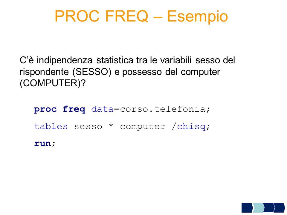 proc freq data=corso.telefonia; tables sesso * computer /chisq; run; C'è indipendenza statistica tra le variabili sesso del rispondente (SESSO) e possesso del computer (COMPUTER).