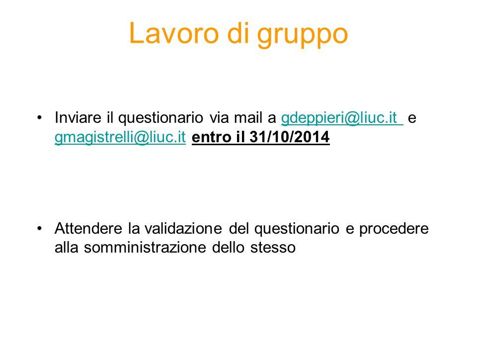 Lavoro di gruppo Inviare il questionario via mail a gdeppieri@liuc.it e gmagistrelli@liuc.it entro il 31/10/2014gdeppieri@liuc.it gmagistrelli@liuc.it Attendere la validazione del questionario e procedere alla somministrazione dello stesso