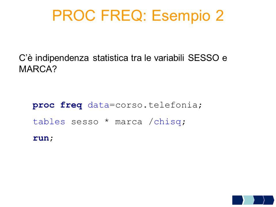 proc freq data=corso.telefonia; tables sesso * marca /chisq; run; C'è indipendenza statistica tra le variabili SESSO e MARCA.