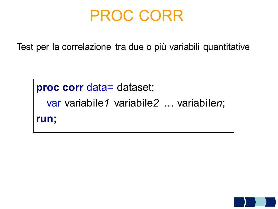 PROC CORR Test per la correlazione tra due o più variabili quantitative proc corr data= dataset; var variabile1 variabile2 … variabilen; run;