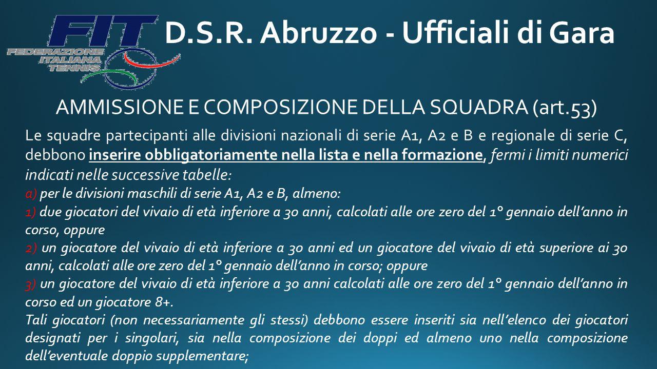 D.S.R. Abruzzo - Ufficiali di Gara AMMISSIONE E COMPOSIZIONE DELLA SQUADRA (art.53) Le squadre partecipanti alle divisioni nazionali di serie A1, A2 e