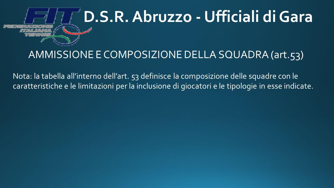 D.S.R. Abruzzo - Ufficiali di Gara AMMISSIONE E COMPOSIZIONE DELLA SQUADRA (art.53) Nota: la tabella all'interno dell'art. 53 definisce la composizion