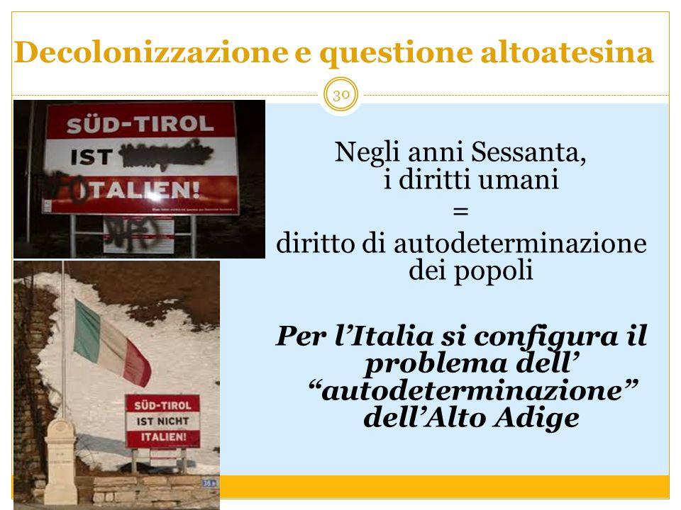 Decolonizzazione e questione altoatesina Negli anni Sessanta, i diritti umani = diritto di autodeterminazione dei popoli Per l'Italia si configura il