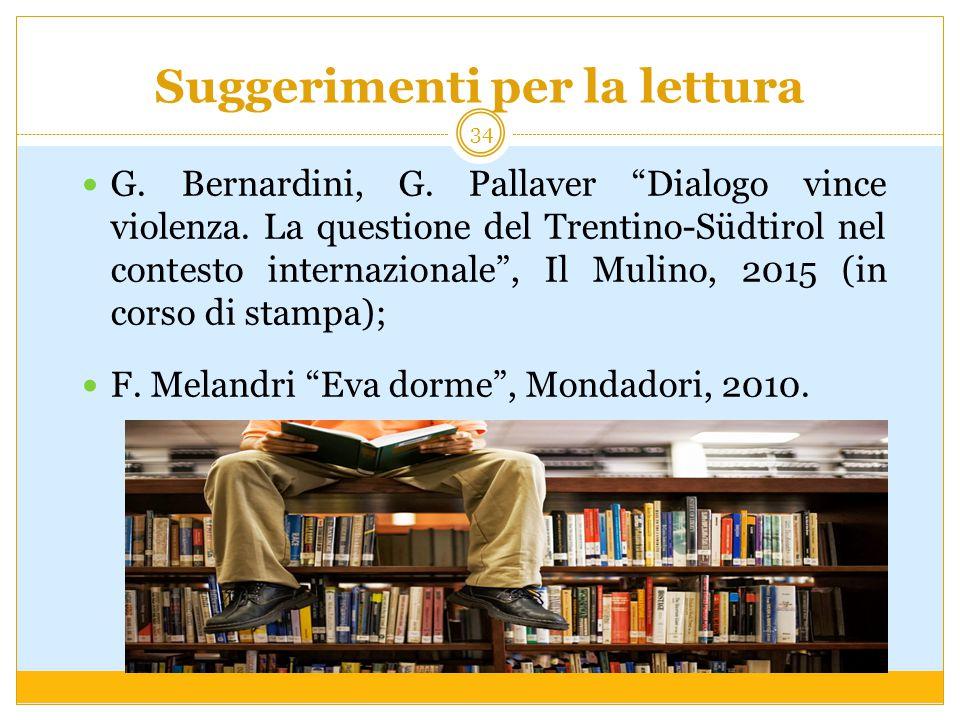 """Suggerimenti per la lettura G. Bernardini, G. Pallaver """"Dialogo vince violenza. La questione del Trentino-Südtirol nel contesto internazionale"""", Il Mu"""
