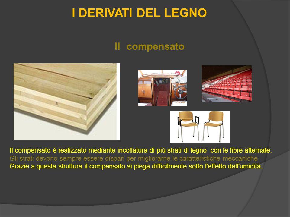I DERIVATI DEL LEGNO Il compensato è realizzato mediante incollatura di più strati di legno con le fibre alternate.