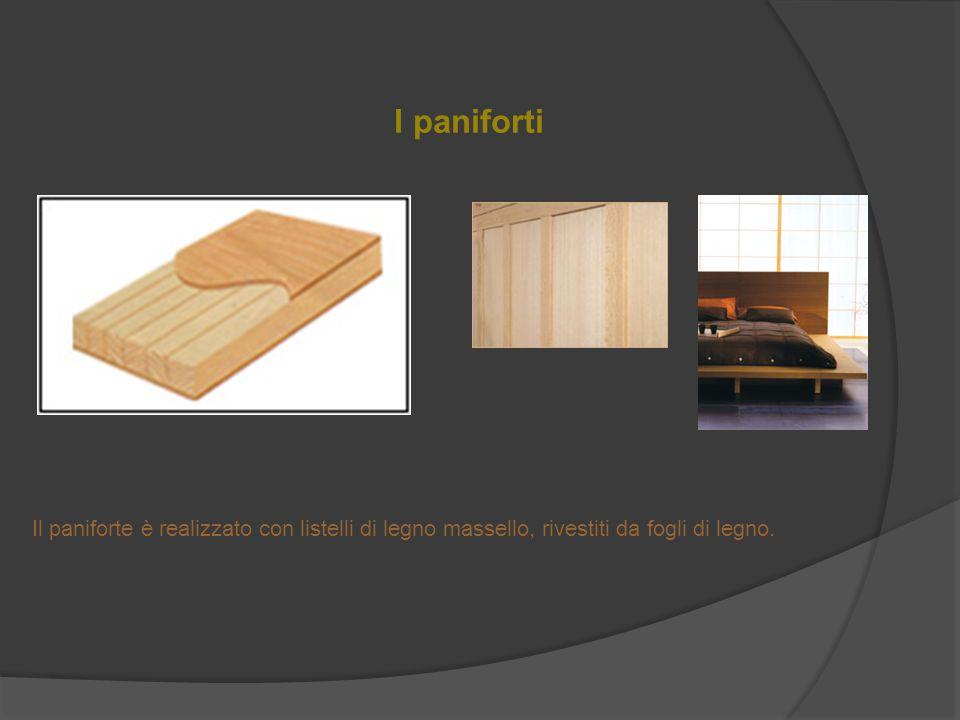 I paniforti Il paniforte è realizzato con listelli di legno massello, rivestiti da fogli di legno.