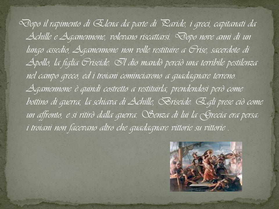 Dopo il rapimento di Elena da parte di Paride, i greci, capitanati da Achille e Agamennone, volevano riscattarsi. Dopo nove anni di un lungo assedio,
