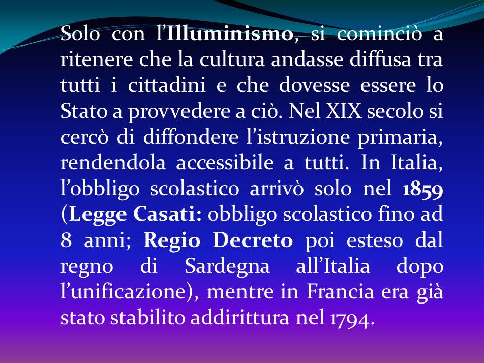 Nel 1999 con la riforma Moratti l'obbligo scolastico viene innalzato ai 15 anni con obbligo di formazione (frequenza di stage, corsi di formazione pro