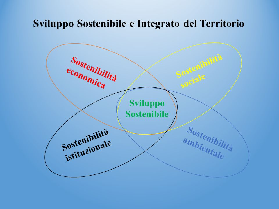 Sviluppo Sostenibile e Integrato del Territorio Sostenibilità economica Sostenibilità sociale Sostenibilità istituzionale Sostenibilità ambientale Sviluppo Sostenibile