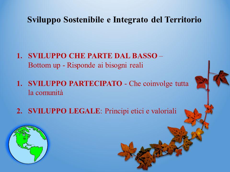 Sviluppo Sostenibile e Integrato del Territorio 1.SVILUPPO CHE PARTE DAL BASSO – Bottom up - Risponde ai bisogni reali 1.SVILUPPO PARTECIPATO - Che co
