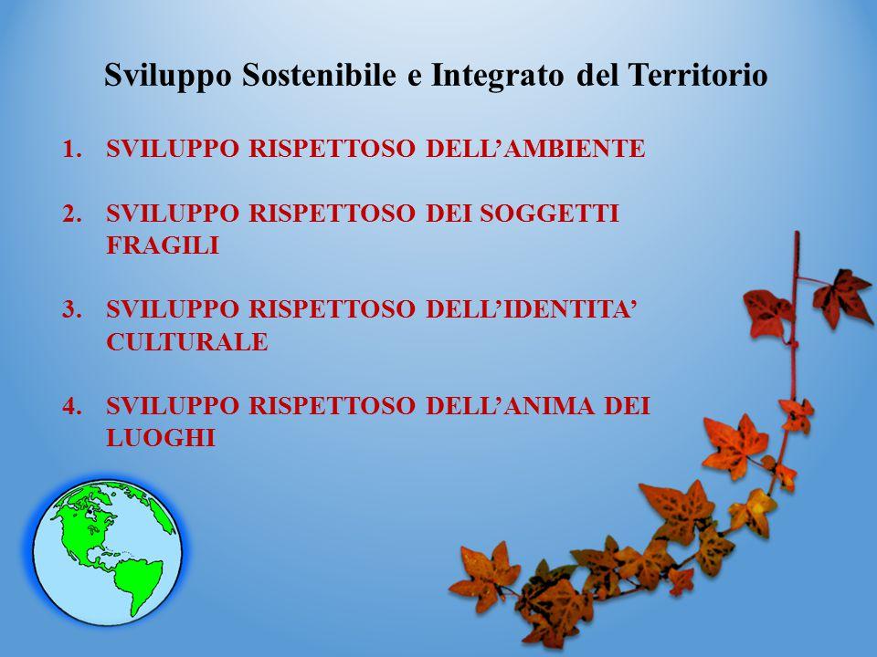 Sviluppo Sostenibile e Integrato del Territorio 1.SVILUPPO RISPETTOSO DELL'AMBIENTE 2.SVILUPPO RISPETTOSO DEI SOGGETTI FRAGILI 3.SVILUPPO RISPETTOSO D