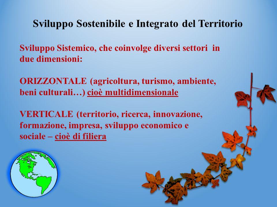 Sviluppo Sostenibile e Integrato del Territorio Sviluppo Sistemico, che coinvolge diversi settori in due dimensioni: ORIZZONTALE (agricoltura, turismo