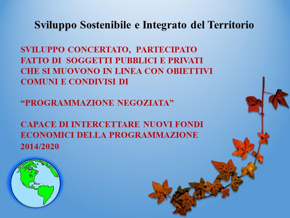 Sviluppo Sostenibile e Integrato del Territorio SVILUPPO CONCERTATO, PARTECIPATO FATTO DI SOGGETTI PUBBLICI E PRIVATI CHE SI MUOVONO IN LINEA CON OBIE