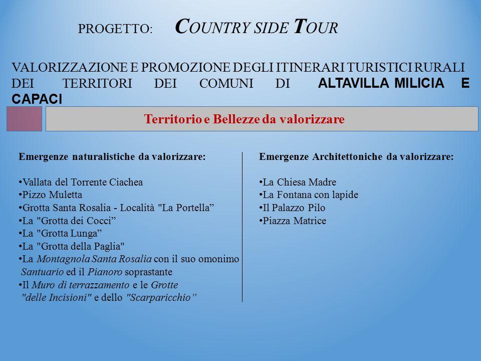 PROGETTO: C OUNTRY SIDE T OUR VALORIZZAZIONE E PROMOZIONE DEGLI ITINERARI TURISTICI RURALI DEI TERRITORI DEI COMUNI DI ALTAVILLA MILICIA E CAPACI Territorio e Bellezze da valorizzare Emergenze naturalistiche da valorizzare: Vallata del Torrente Ciachea Pizzo Muletta Grotta Santa Rosalia - Località La Portella La Grotta dei Cocci La Grotta Lunga La Grotta della Paglia La Montagnola Santa Rosalia con il suo omonimo Santuario ed il Pianoro soprastante Il Muro di terrazzamento e le Grotte delle Incisioni e dello Scarparicchio Emergenze Architettoniche da valorizzare: La Chiesa Madre La Fontana con lapide Il Palazzo Pilo Piazza Matrice