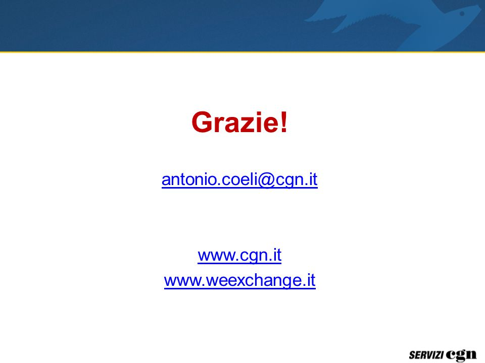Grazie! antonio.coeli@cgn.it www.cgn.it www.weexchange.it
