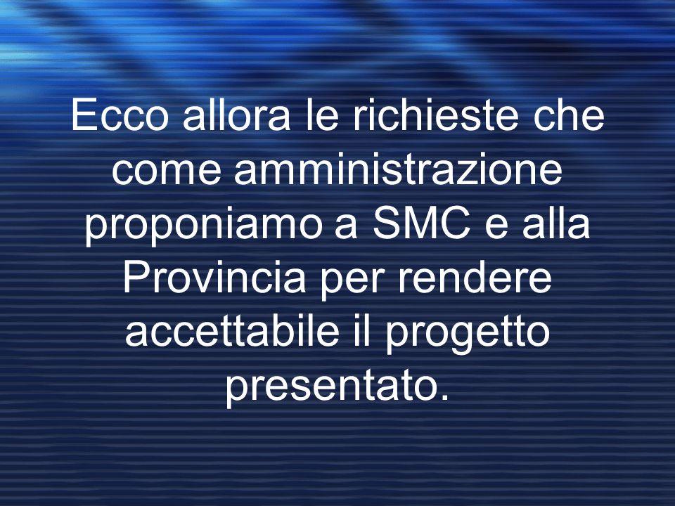 Ecco allora le richieste che come amministrazione proponiamo a SMC e alla Provincia per rendere accettabile il progetto presentato.
