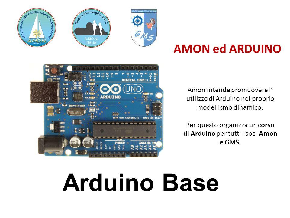 Accendiamo un led AMON ed ARDUINO Apriamo e Carichiamo il programma «Blink» da Esempi Arduino-Basics Carichiamo il pgm su Arduino Attendiamo e un piccolo led si accende Mettiamo un LED sulla porta 13 e riproviamo LED : pin PIU LUNGO è + parte sporgente è +