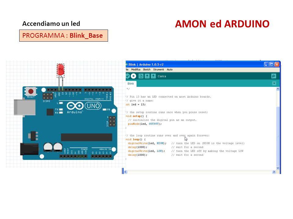 Accendiamo un led AMON ed ARDUINO PROGRAMMA : Blink_Base