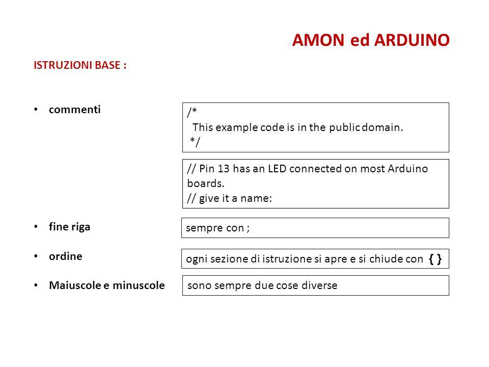 ISTRUZIONI BASE : commenti fine riga ordine Maiuscole e minuscole AMON ed ARDUINO /* This example code is in the public domain. */ // Pin 13 has an LE