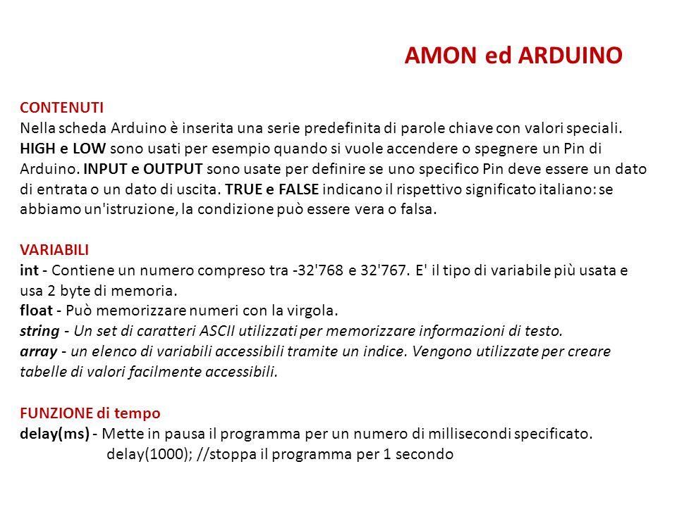 AMON ed ARDUINO CONTENUTI Nella scheda Arduino è inserita una serie predefinita di parole chiave con valori speciali. HIGH e LOW sono usati per esempi
