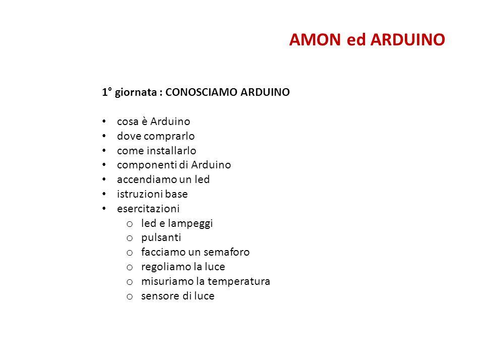 Cosa è Arduino AMON ed ARDUINO Arduino è una scheda elettronica di piccole dimensioni con un microcontrollore e circuiteria di contorno, utile per creare rapidamente prototipi e per scopi hobbistici e didattici.