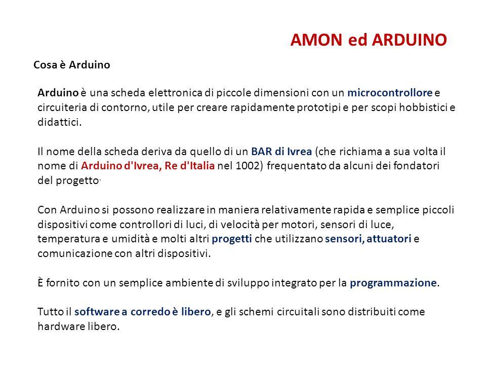Cosa è Arduino AMON ed ARDUINO Arduino è una scheda elettronica di piccole dimensioni con un microcontrollore e circuiteria di contorno, utile per cre