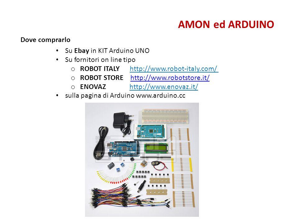 Come istallarlo AMON ed ARDUINO Scaricare da www.arduino.cc il software freewww.arduino.cc Lanciare il programma e collegare Arduino al PC Se necessario cercare il corretto driver (vedere slide dopo) Settare la porta (es.