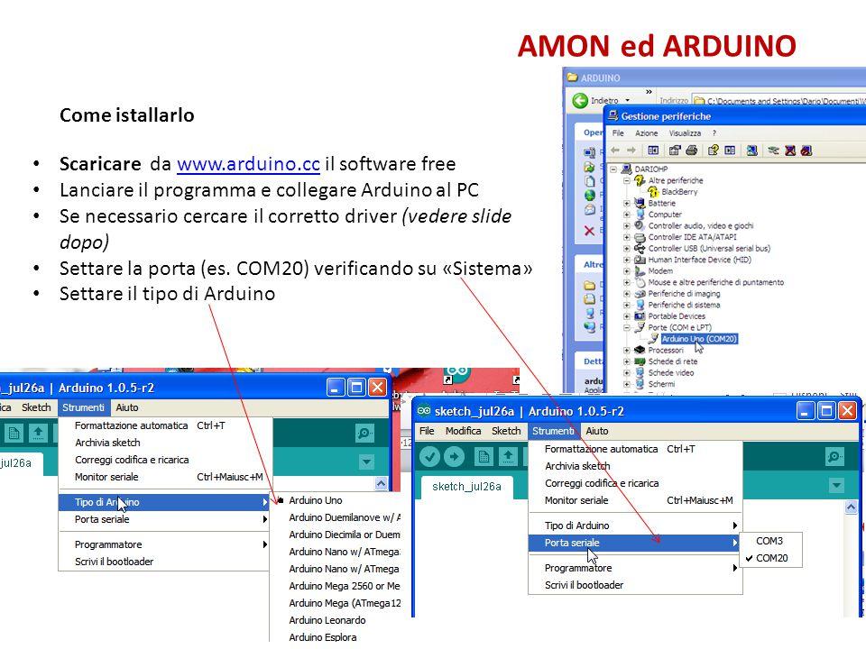 AMON ed ARDUINO Come istallarlo Collegare USB ad Arduino e al PC Da Sistema – Hardware – Porte caricare il driver di porta Il programma guiderà il caricamento Verrà attribuita ad Arduino una Porta (da riportare sul programma Arduino) C:\Programmi\Arduino\drivers